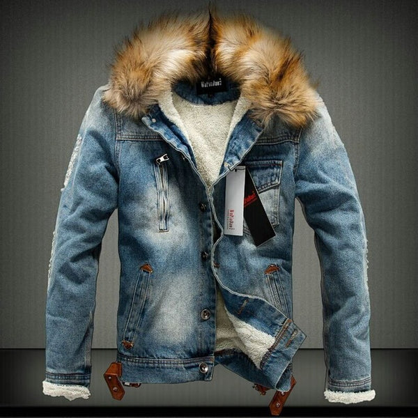 Retro Denim Jacket with Fur Collar - Swag Vikings