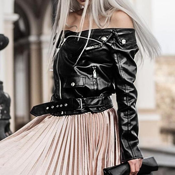 Off Shoulder Faux Leather Jacket - Swag Vikings