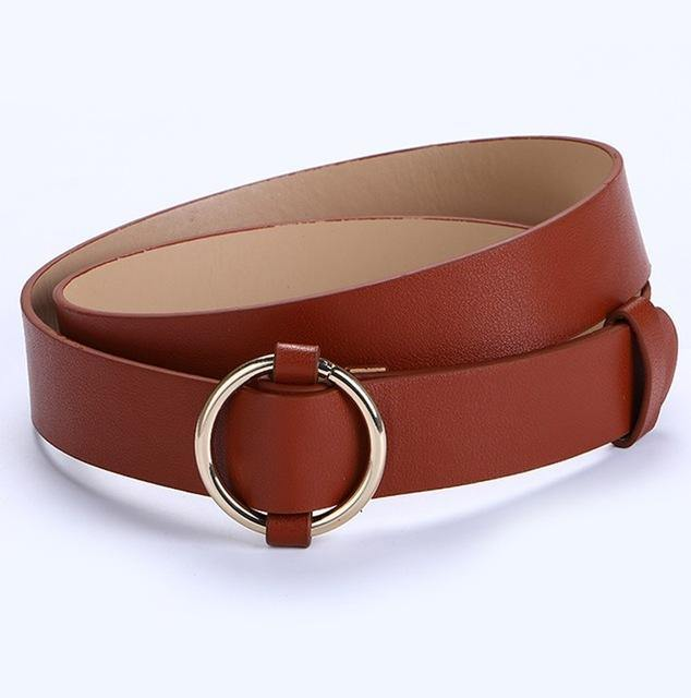 Fashion Gold Buckle Leather Belt - Swag Vikings