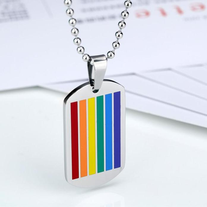 Rainbow Dog Tag Pendant