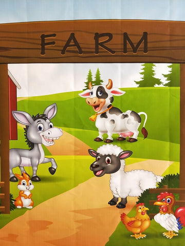 Cute Cartoon Farm Yard Scene. FREE SHIPPING!