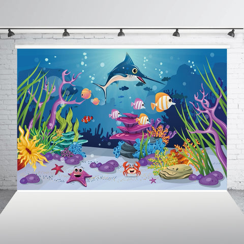 Cartoon Underwater Scene. FREE SHIPPING!