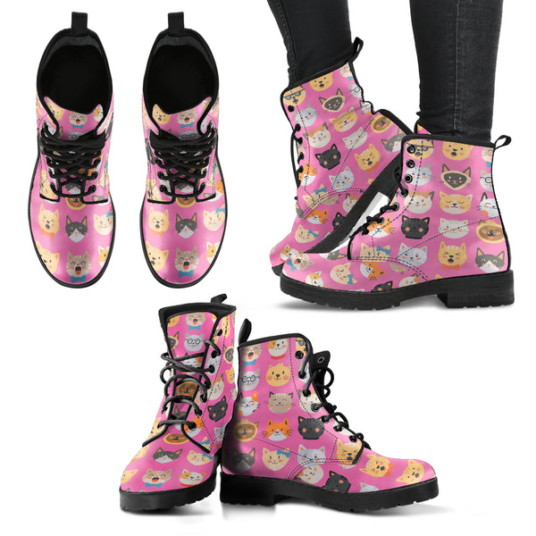 Pink Cat Faces Women's Leather Boots