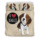 I Love Beagles Bedding Set