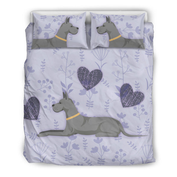 I Love Great Danes Bedding Set for Lovers of Great Dane Dogs