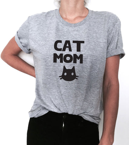 Cat Mom Trendy Printed Tee - Kitty Puppies