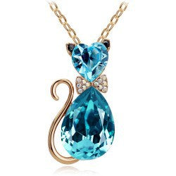 Rhinestone Crystal Lovely Cat Necklace - Kitty Puppies
