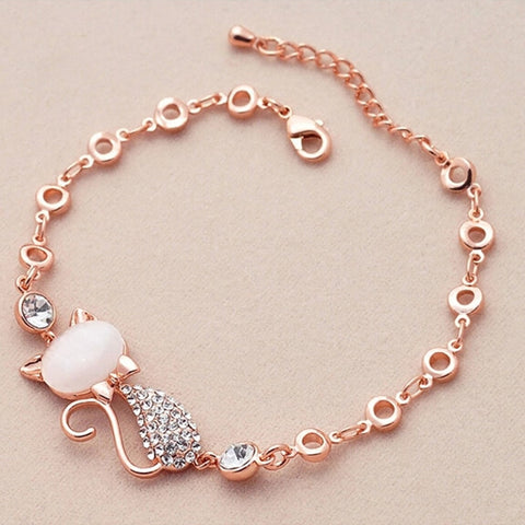 Crystal Charm Cat Lover Bracelet - Kitty Puppies