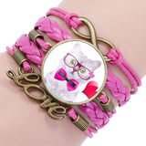 Cat Infinity Love Leather Bracelet - Kitty Puppies