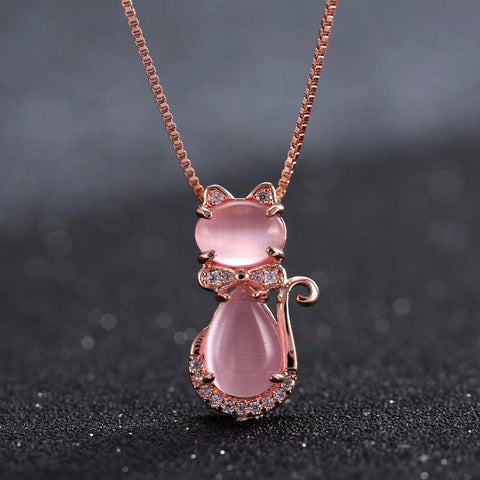 Rose Gold Cute Opal Cat Necklace - Kitty Puppies