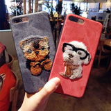 Embroidery Fuzzy Dog Phone Case - Kitty Puppies