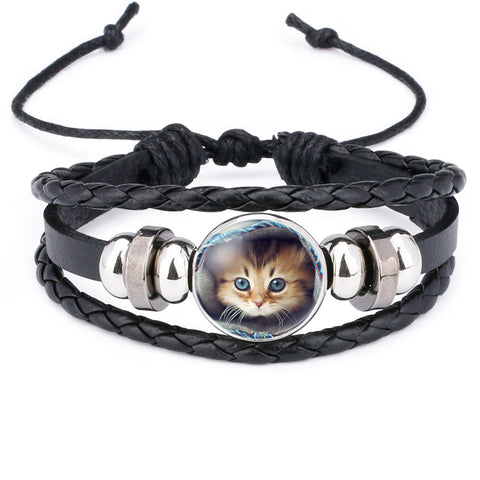 Lovely Cat Leather Braided Bracelet - Kitty Puppies