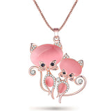 Elegant Cat Long Pendant Crystal Necklace - Kitty Puppies