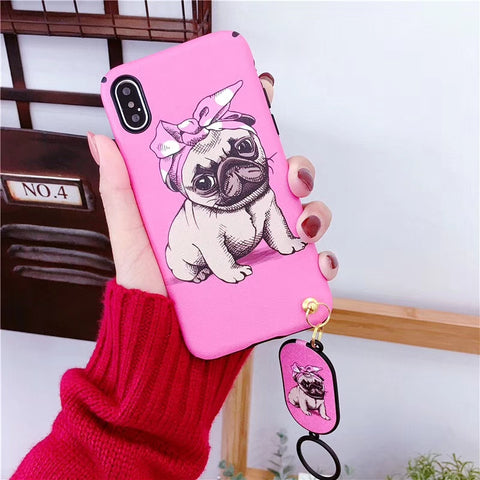 Cartoon Bowknot Dog Soft Case - Kitty Puppies
