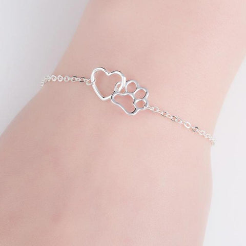 Dog Paw & Heart Charm Bracelet - Kitty Puppies