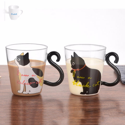Cat Glass Tea Cup - Kitty Puppies