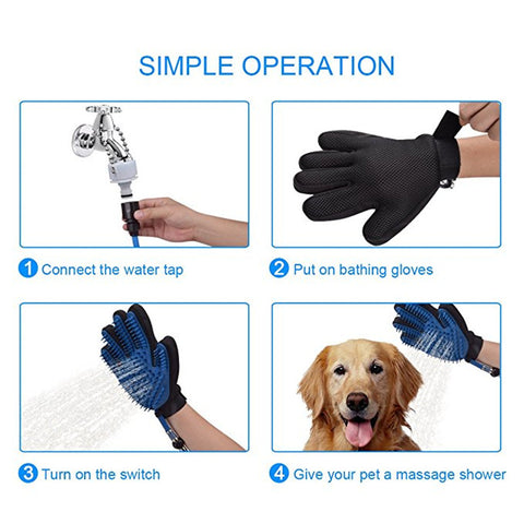 Pet Bathing Massaging Glove with 3 Faucet Adapters - Kitty Puppies