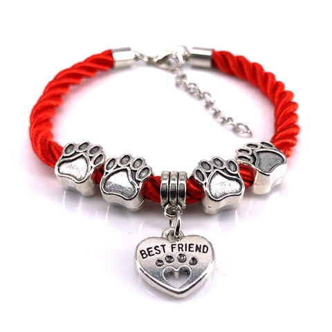Hand-Woven Rope Charm Bracelet - Kitty Puppies