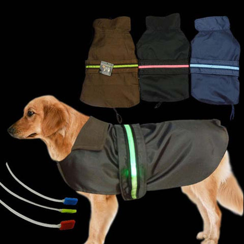 Waterproof Polyester - Lined Dog Raincoat with LED Lights - Kitty Puppies