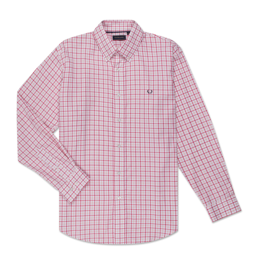 Men's Button Down - Red & Pink Check