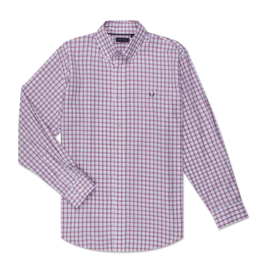 Men's Button Down - Red & Blue Check
