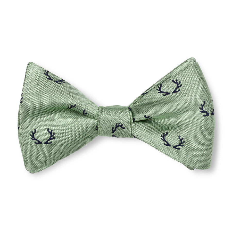 The Antler Bow Tie – Sage with Navy