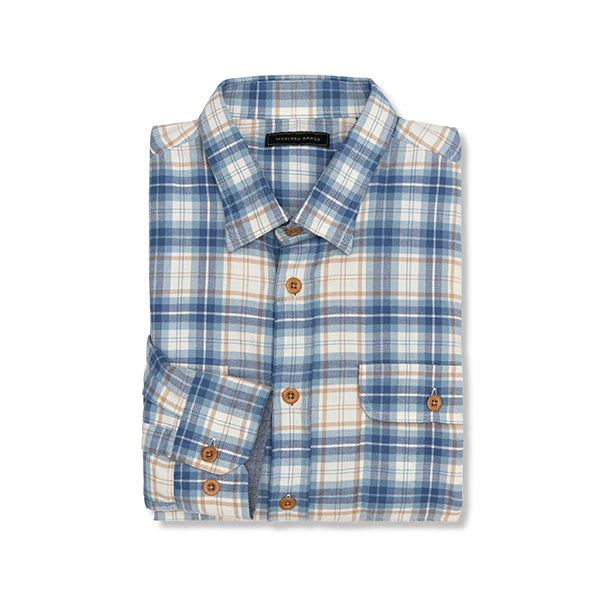 The Fall Creek Flannel in Blue & Gold