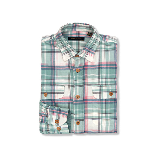 The Fall Creek Flannel in Green & Pink