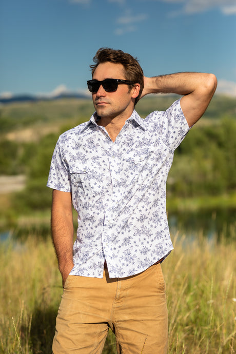 The Short Sleeve Pearl Snap - Bird Print