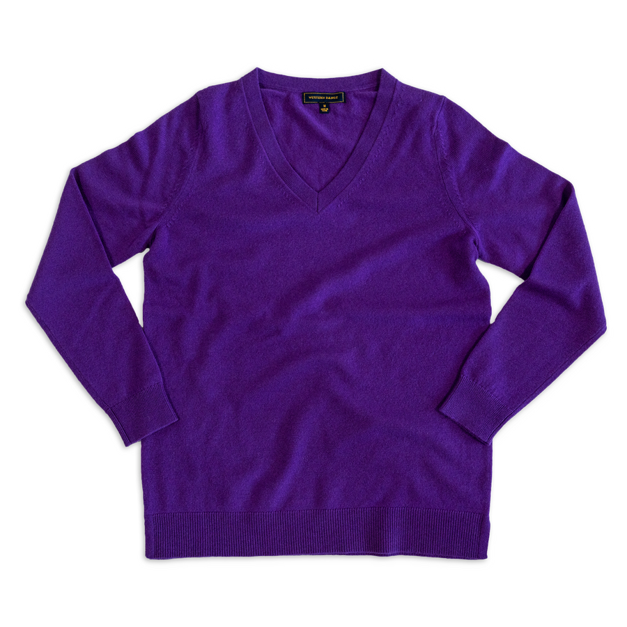V-Neck Cashmere in Huckleberry