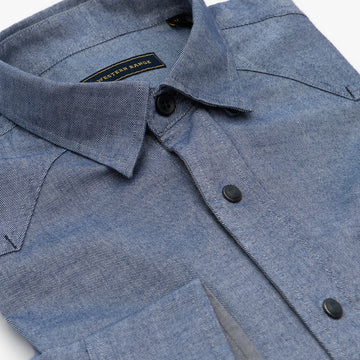 The Solitude Flannel Snap Shirt in Navy