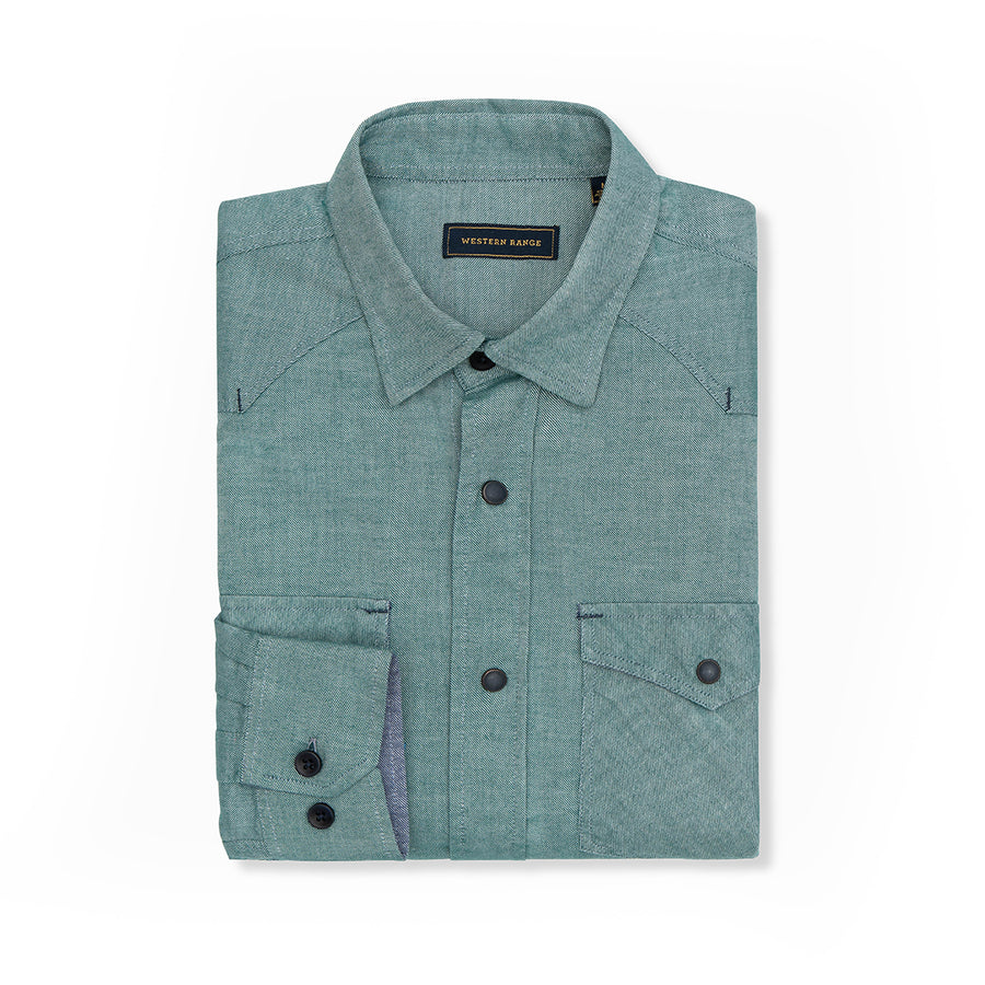 The Solitude Flannel Snap Shirt in Green