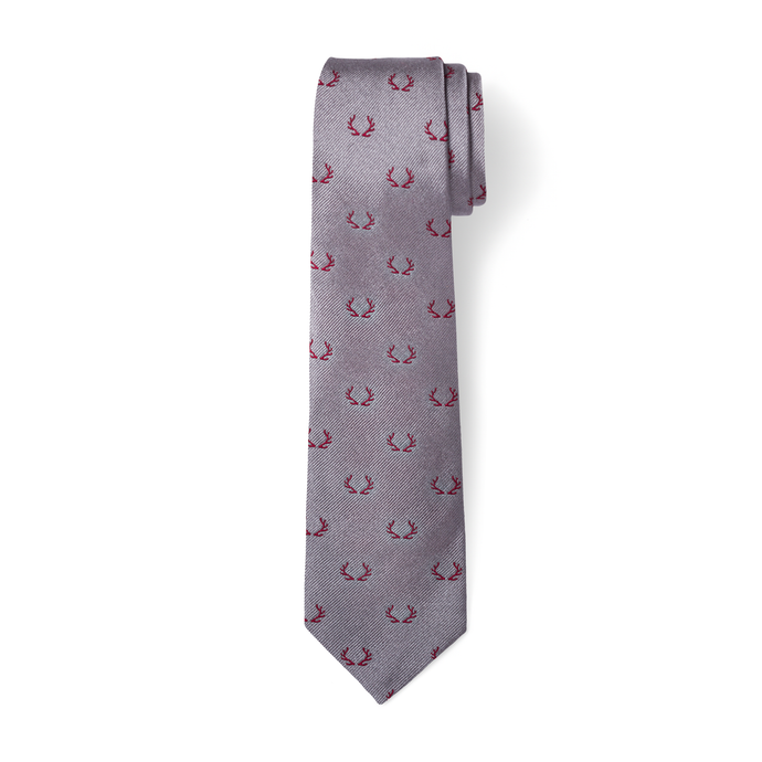 The Antler Tie - Gray with Crimson