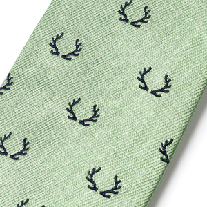 The Antler Tie - Sage with Navy
