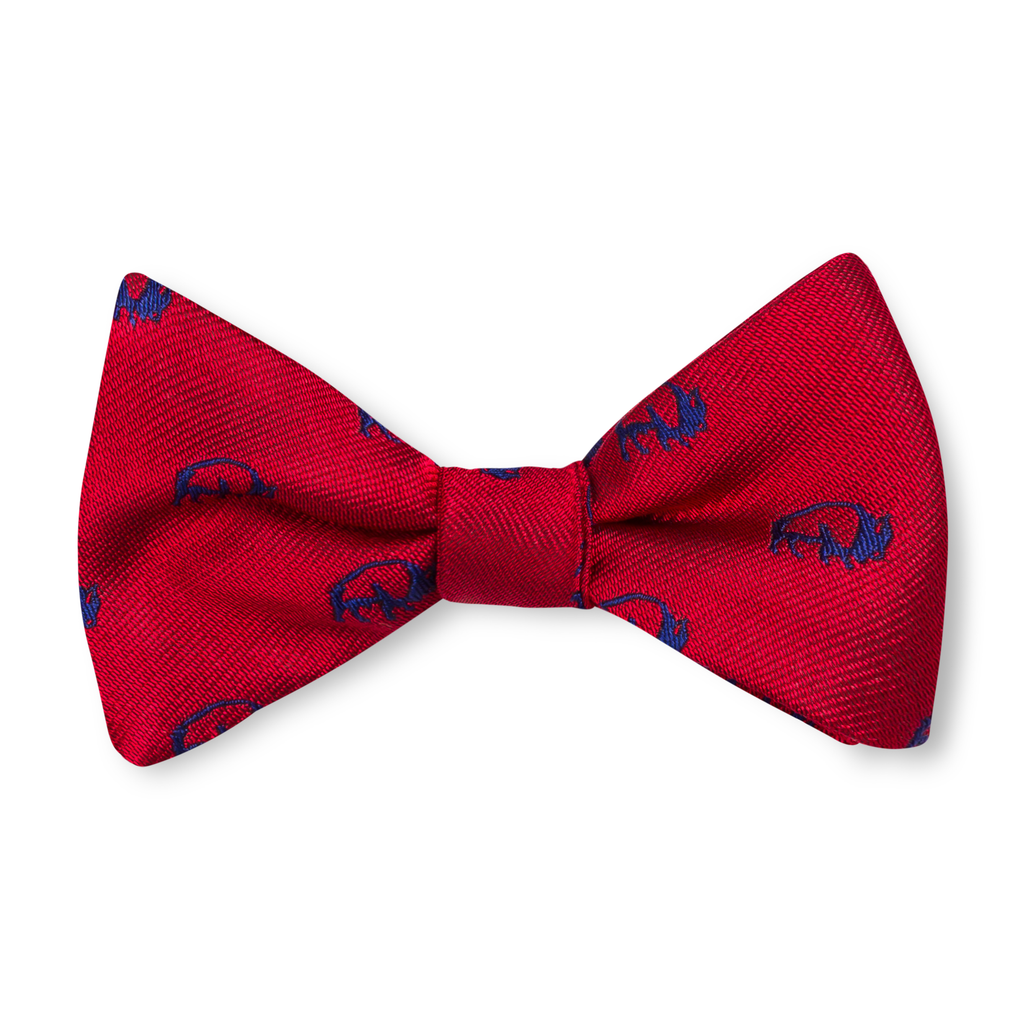The Buffalo Bow Tie – Red with Navy