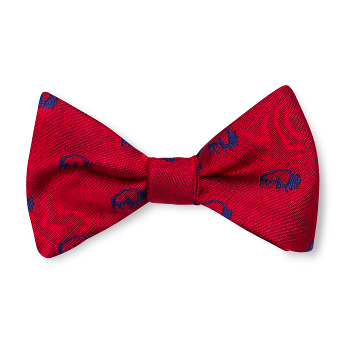 Boys Buffalo Bow Tie - Red with Navy
