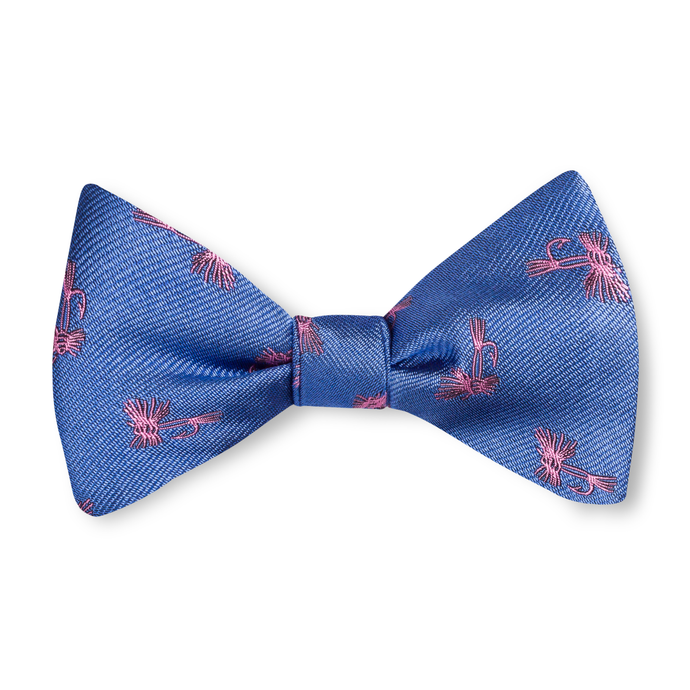 Boys Fly Tie Bow Tie - Blue with Pink