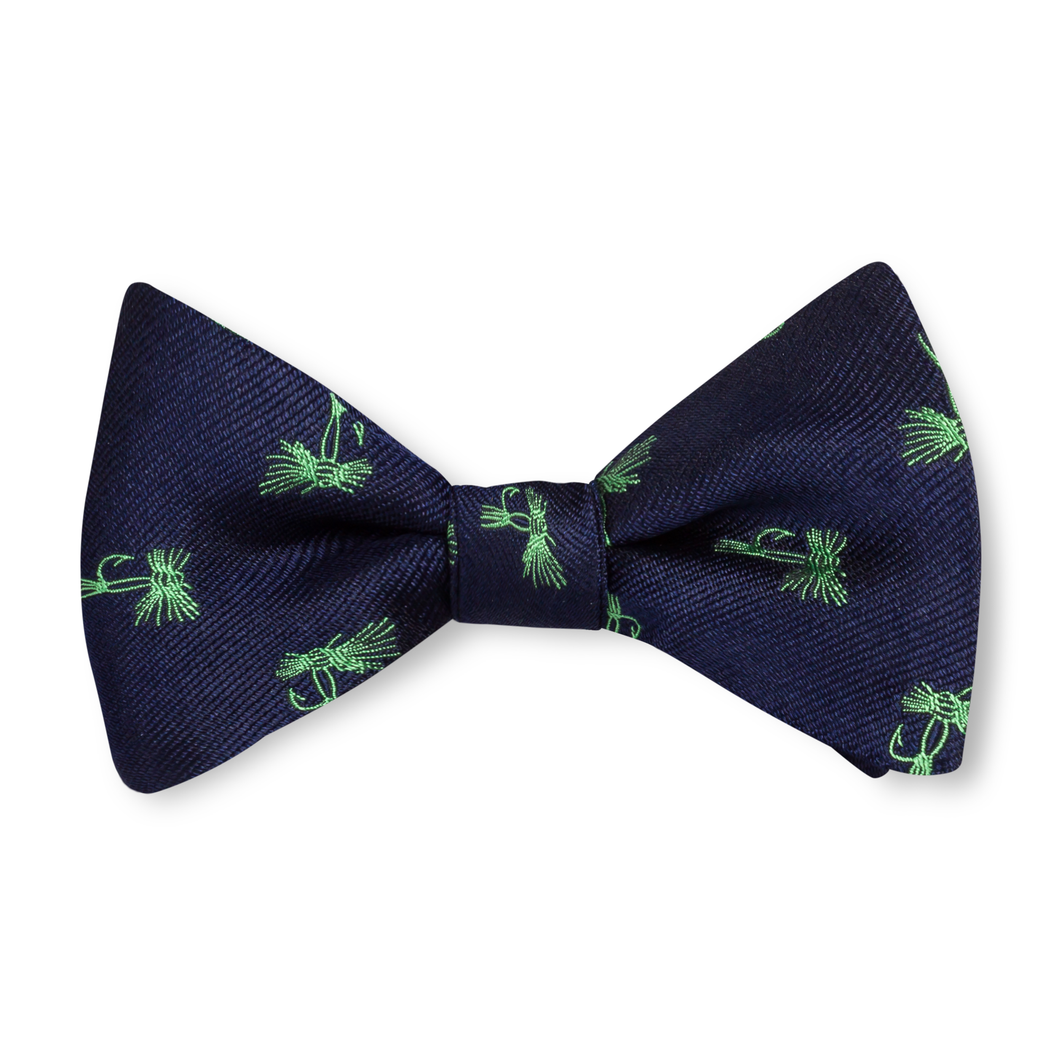 Boys Fly Tie Bow Tie - Navy with Green