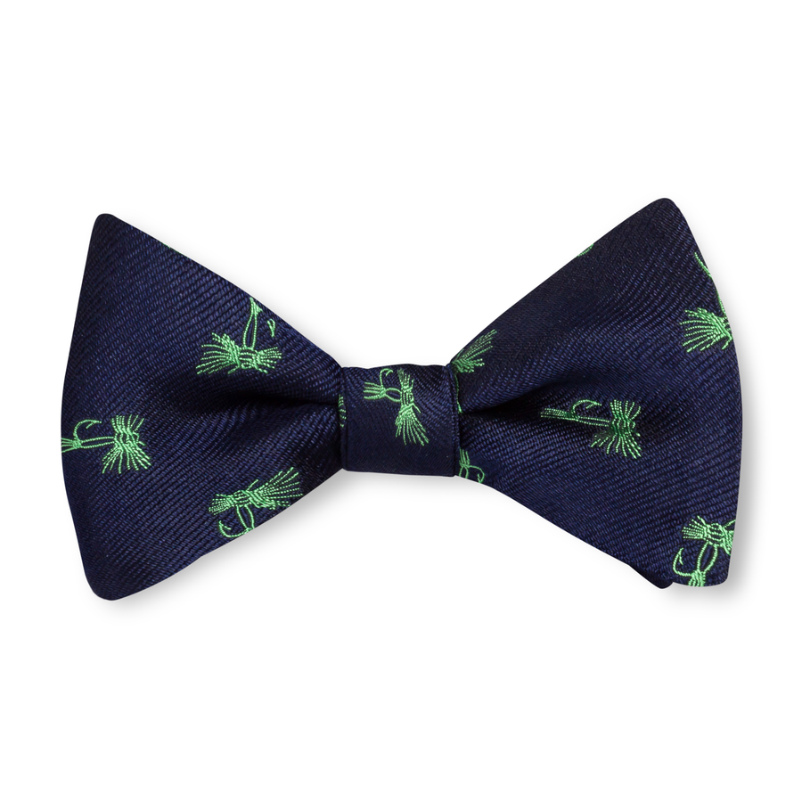 The Fly Bow Tie - Navy with Green