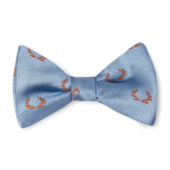 Boys Antler Bow Tie - Sky with Orange