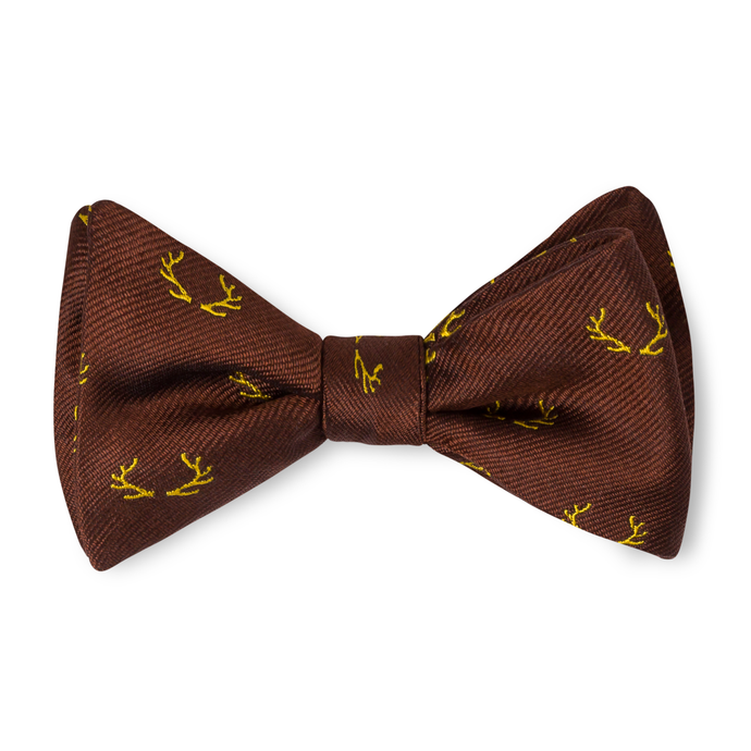 Boys Antler Bow Tie - Brown with Gold