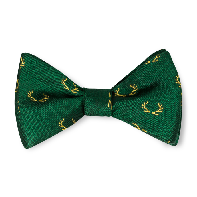Boys Antler Bow Tie - Green with Yellow