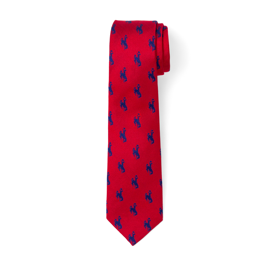 The Bronc Tie - Red with Navy