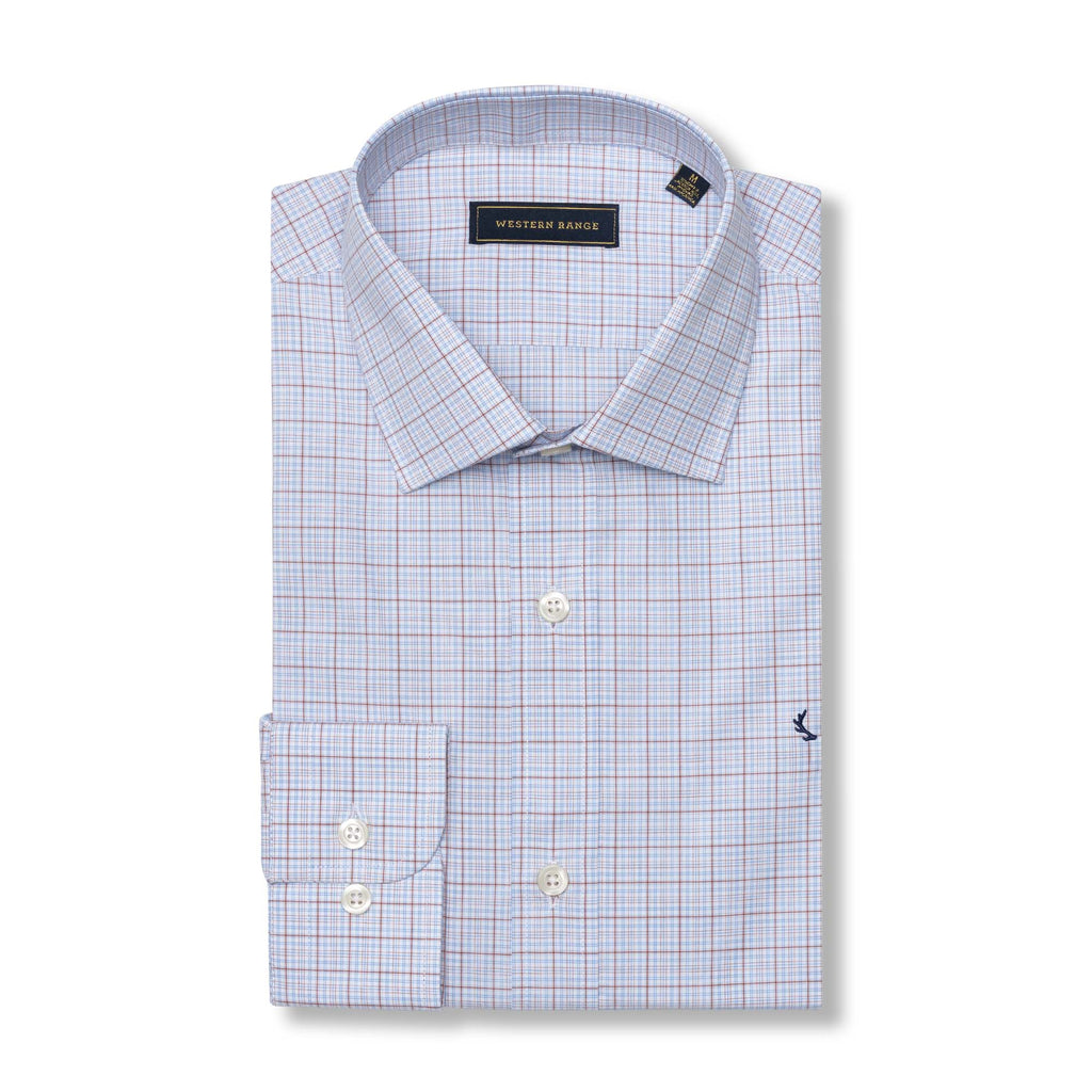 The Rendezvous Dress Shirt - Blue & Red Windowpane