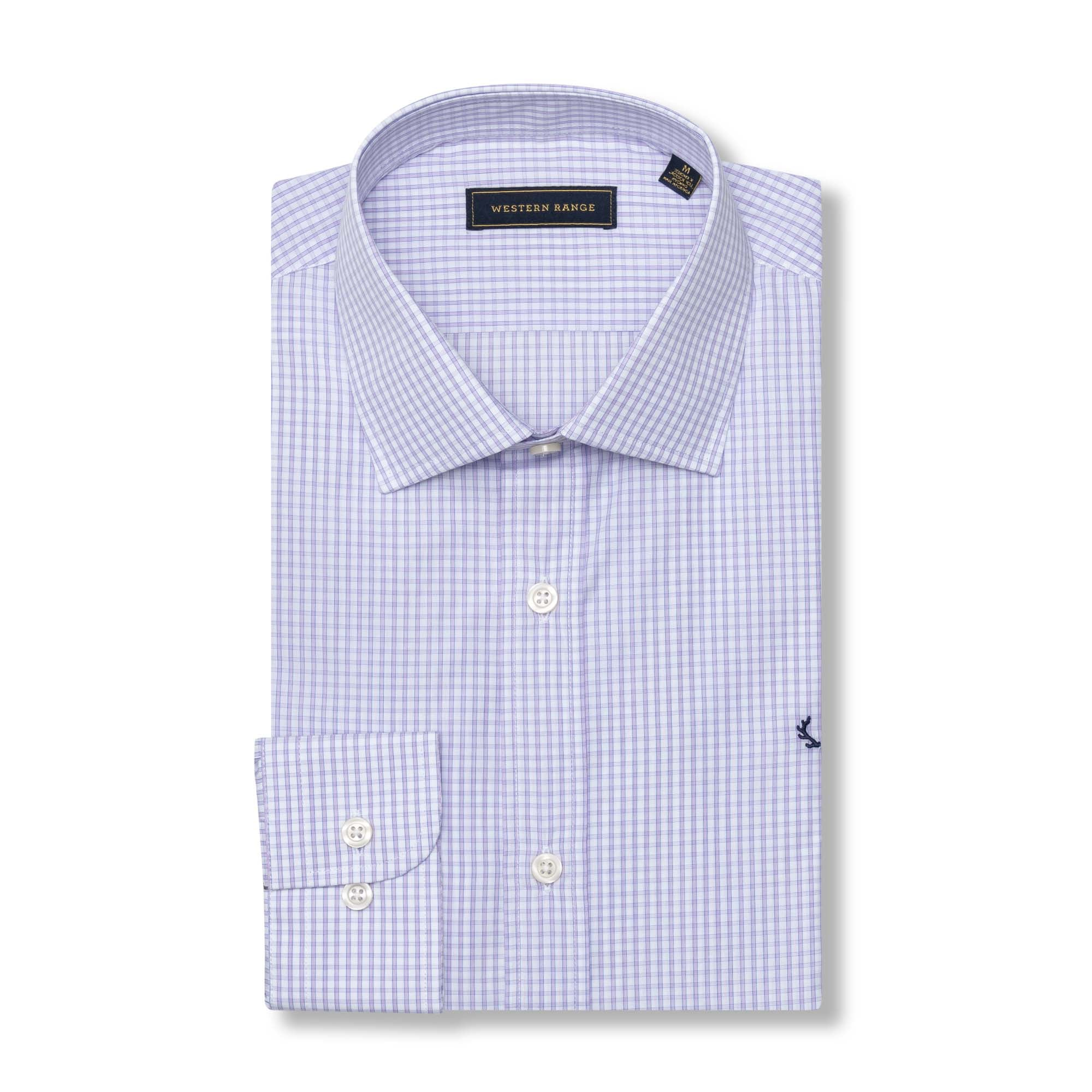 The Rendezvous Dress Shirt - Purple & White Check