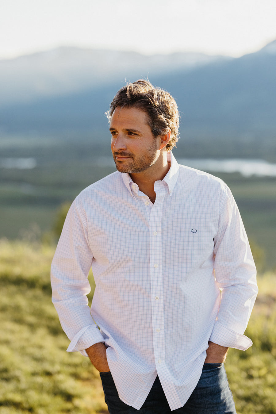 Snake River Sport Shirt in Pink & Blue