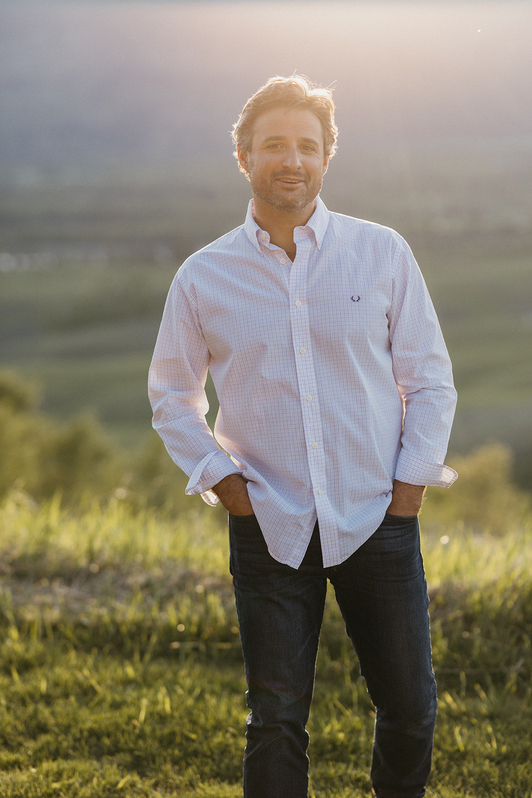 The Snake River Sport Shirt - Pink & Blue Check