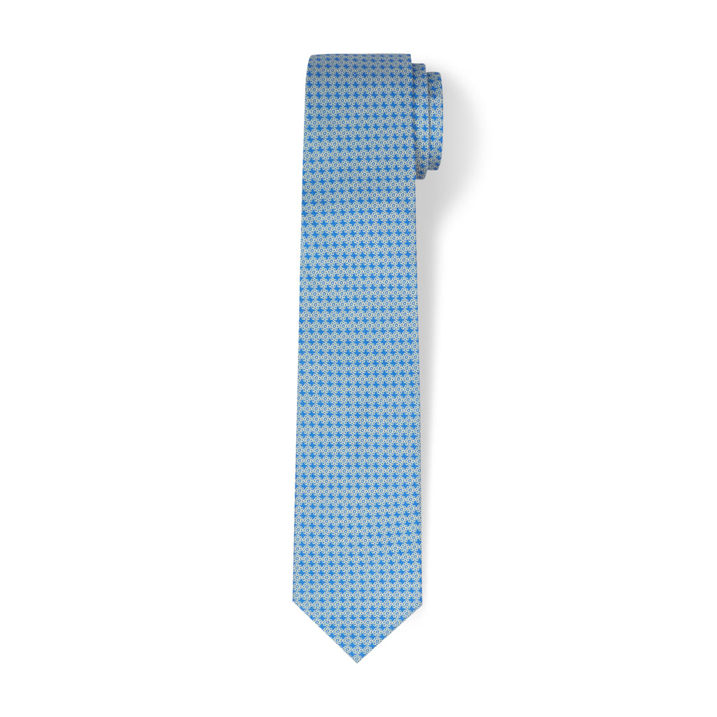 The Vintage Flower Tie - Clear Blue