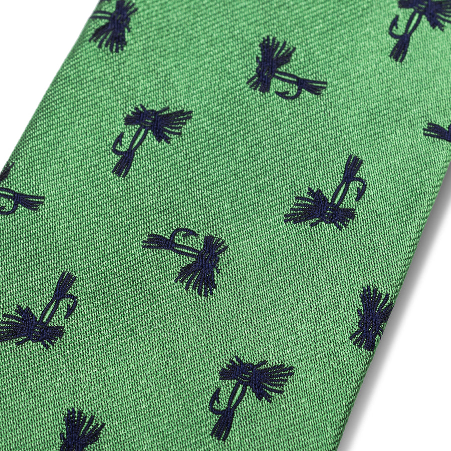 The Fly Tie - Green with Navy