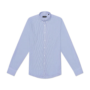 The Jenny Shirt in Dark Blue Small Stripes